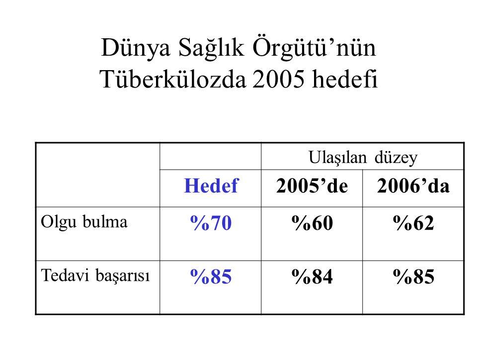 Dünya Sağlık Örgütü'nün Tüberkülozda 2005 hedefi Ulaşılan düzey Hedef2005'de2006'da Olgu bulma %70%60%62 Tedavi başarısı %85%84%85