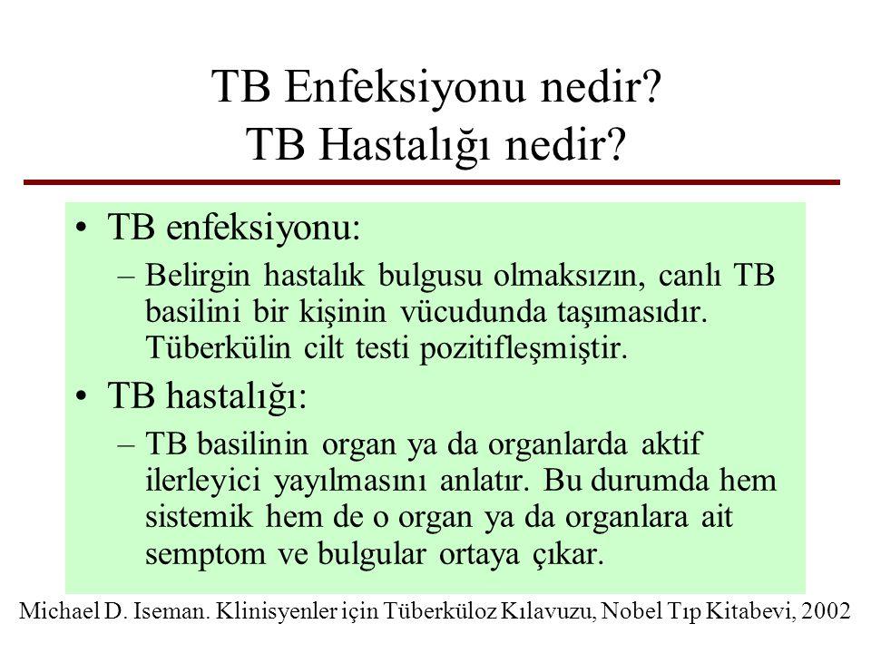 TB Enfeksiyonu nedir? TB Hastalığı nedir? TB enfeksiyonu: –Belirgin hastalık bulgusu olmaksızın, canlı TB basilini bir kişinin vücudunda taşımasıdır.