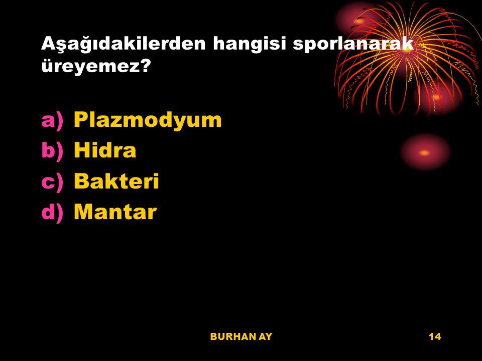 BURHAN AY14 Aşağıdakilerden hangisi sporlanarak üreyemez? a)Plazmodyum b)Hidra c)Bakteri d)Mantar