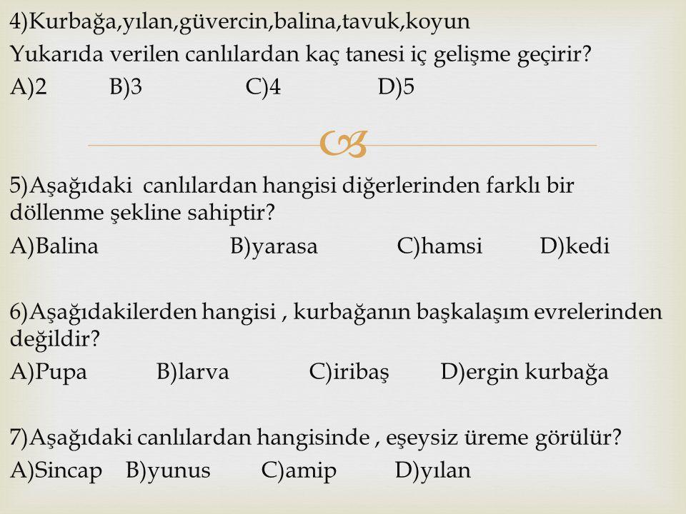  4)Kurbağa,yılan,güvercin,balina,tavuk,koyun Yukarıda verilen canlılardan kaç tanesi iç gelişme geçirir? A)2 B)3 C)4 D)5 5)Aşağıdaki canlılardan hang