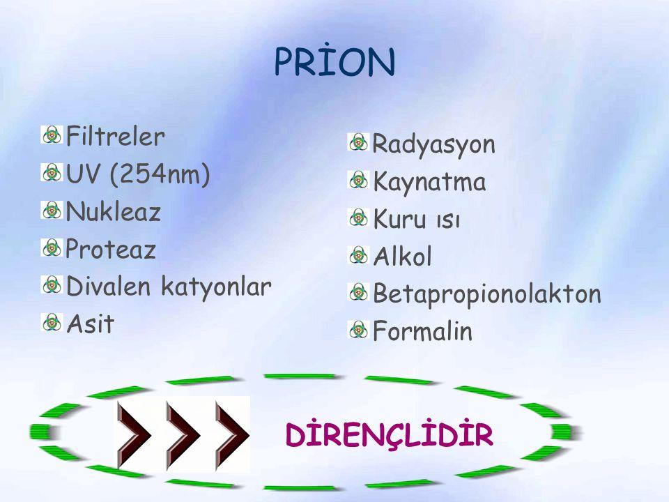 PRİON Filtreler UV (254nm) Nukleaz Proteaz Divalen katyonlar Asit Radyasyon Kaynatma Kuru ısı Alkol Betapropionolakton Formalin DİRENÇLİDİR