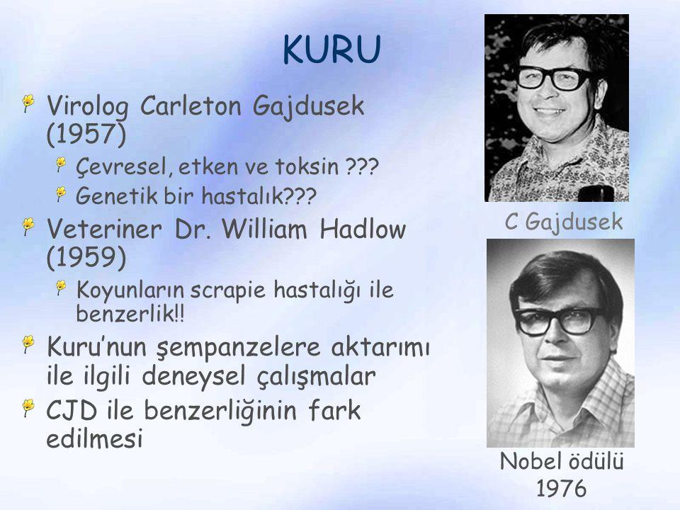 KURU Virolog Carleton Gajdusek (1957) Çevresel, etken ve toksin ??? Genetik bir hastalık??? Veteriner Dr. William Hadlow (1959) Koyunların scrapie has