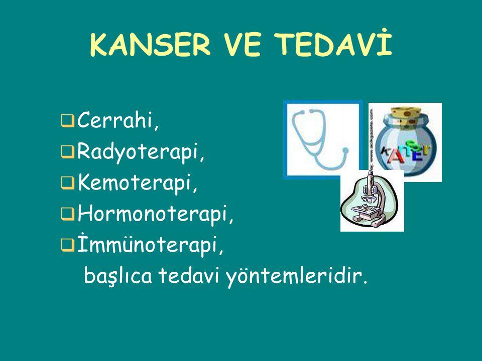 KANSER VE TEDAVİ  Cerrahi,  Radyoterapi,  Kemoterapi,  Hormonoterapi,  İmmünoterapi, başlıca tedavi yöntemleridir.