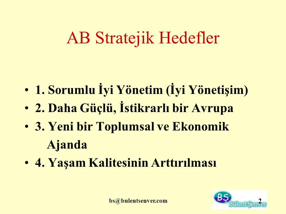 bs@bulentsenver.com 2 AB Stratejik Hedefler 1. Sorumlu İyi Yönetim (İyi Yönetişim) 2. Daha Güçlü, İstikrarlı bir Avrupa 3. Yeni bir Toplumsal ve Ekono