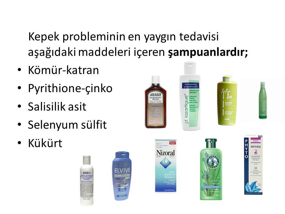 Kepek probleminin en yaygın tedavisi aşağıdaki maddeleri içeren şampuanlardır; Kömür-katran Pyrithione-çinko Salisilik asit Selenyum sülfit Kükürt