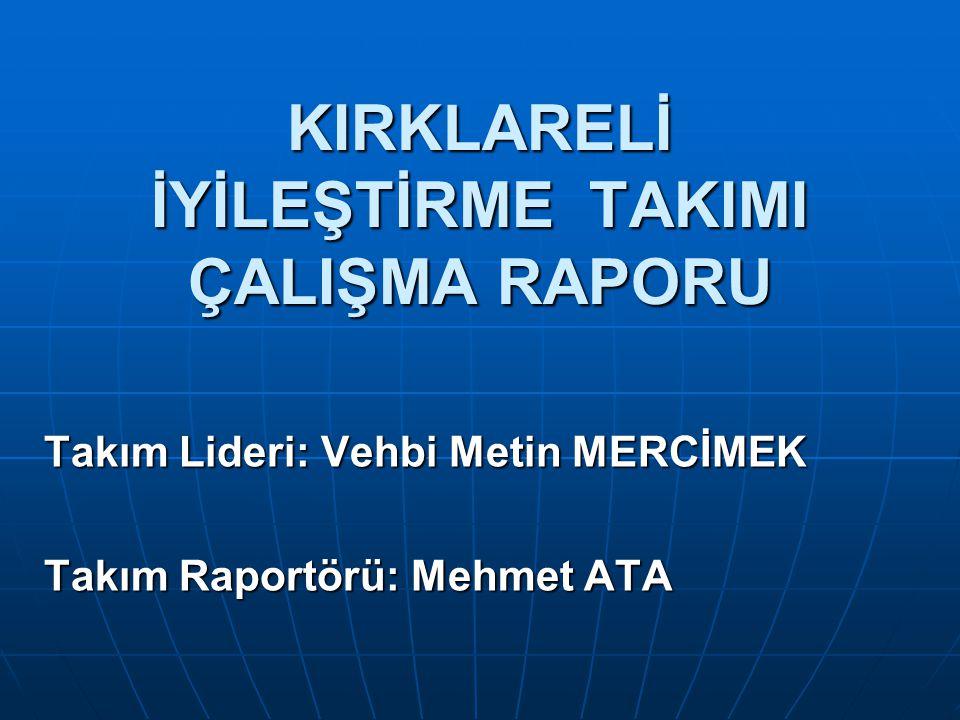 KIRKLARELİ İYİLEŞTİRME TAKIMI ÇALIŞMA RAPORU Takım Lideri: Vehbi Metin MERCİMEK Takım Raportörü: Mehmet ATA