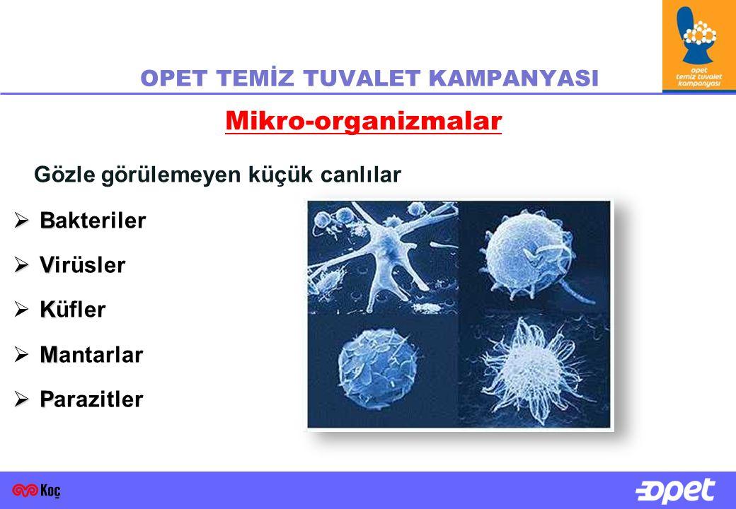  B  Bakteriler  V  Virüsler K  Küfler M  Mantarlar  P  Parazitler Mikro-organizmalar Gözle görülemeyen küçük canlılar OPET TEMİZ TUVALET KAMPANYASI