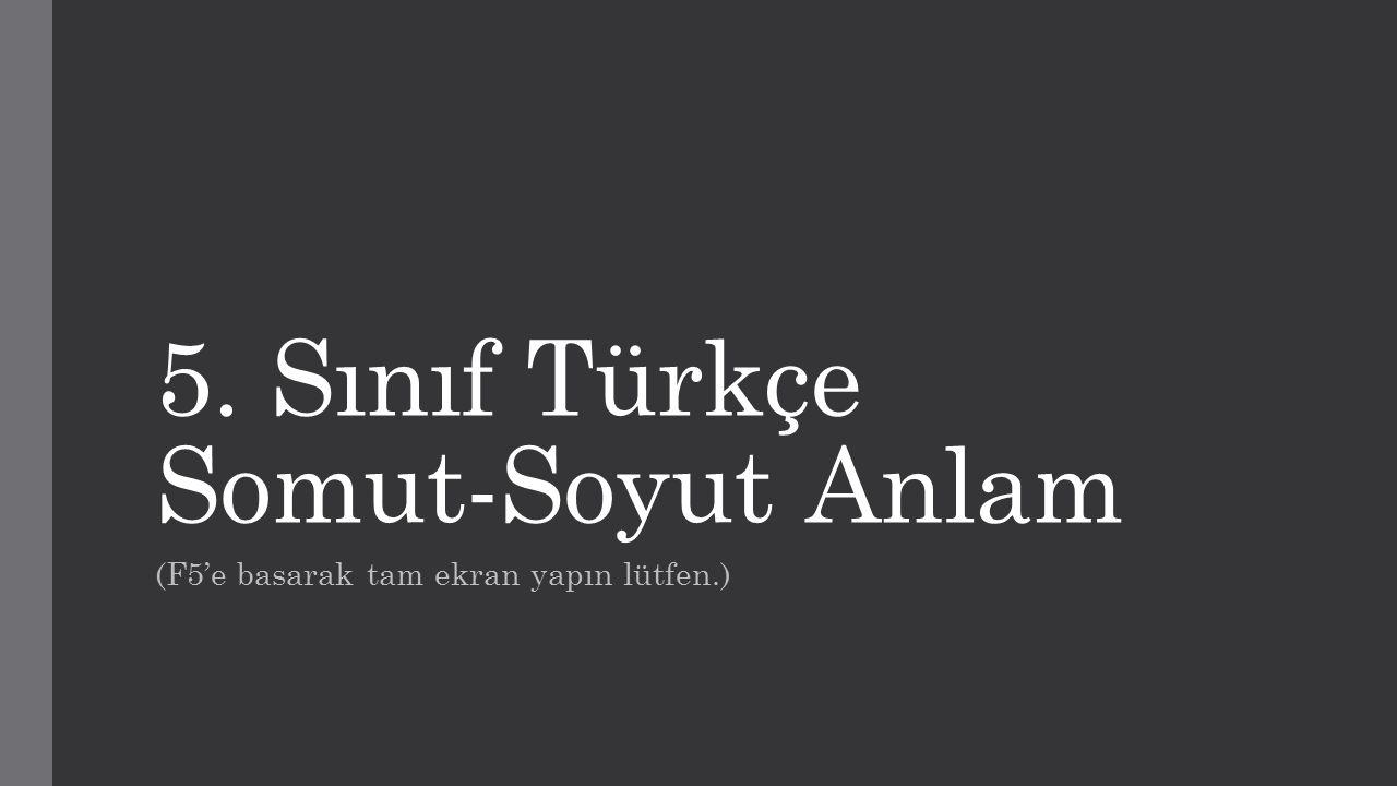 5. Sınıf Türkçe Somut-Soyut Anlam (F5'e basarak tam ekran yapın lütfen.)