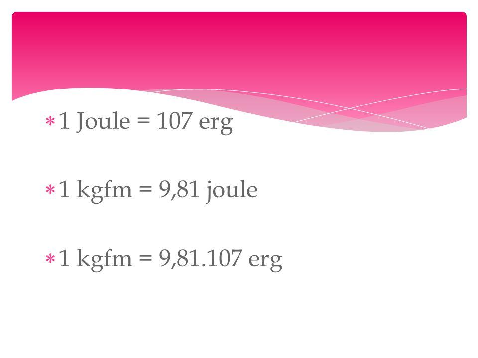  1 Joule = 107 erg  1 kgfm = 9,81 joule  1 kgfm = 9,81.107 erg