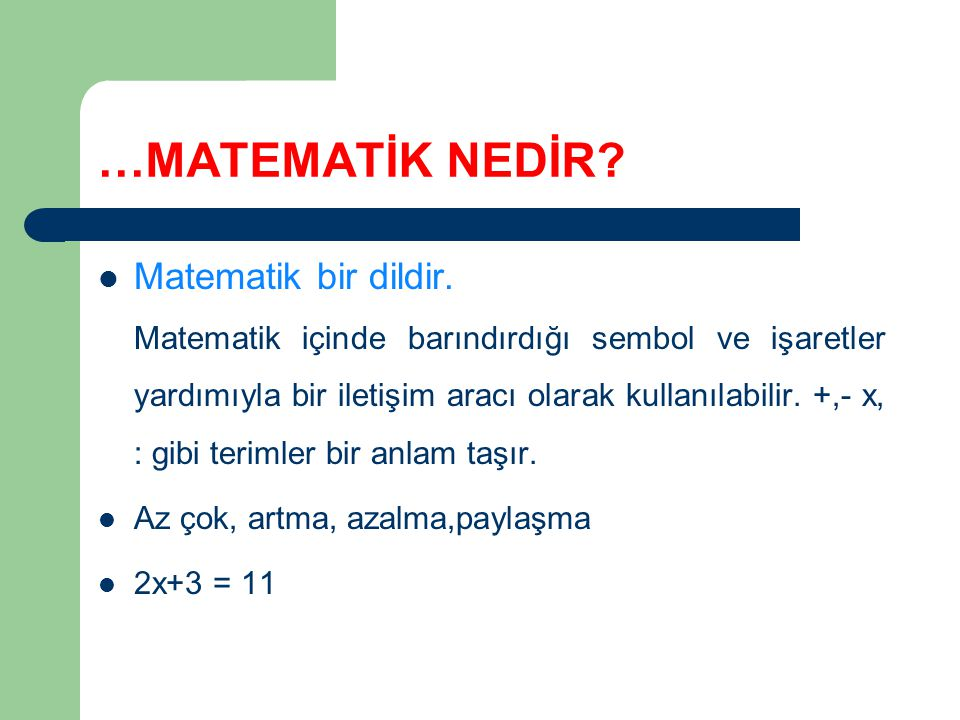 …MATEMATİK NEDİR.Matematik bir dildir.