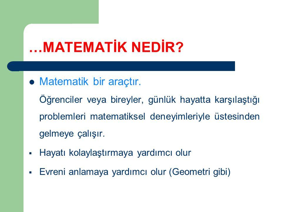 …MATEMATİK NEDİR.Matematik bir araçtır.