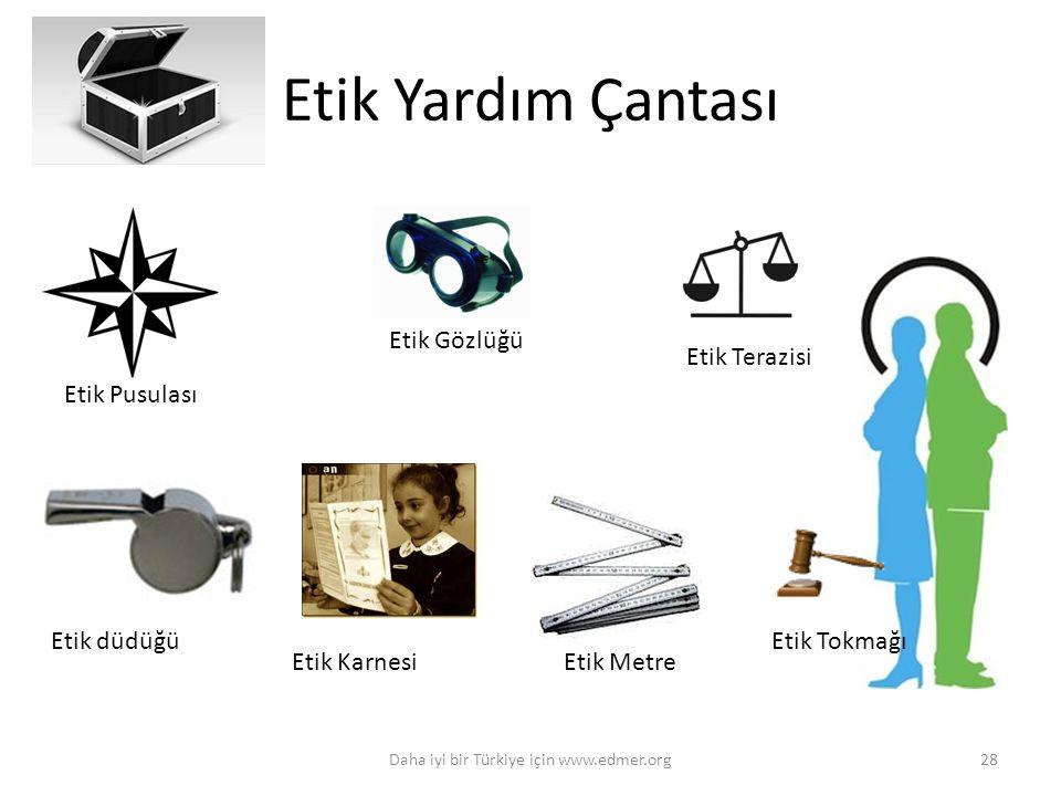 Etik Yardım Çantası Daha iyi bir Türkiye için www.edmer.org28 Etik Pusulası Etik Gözlüğü Etik Terazisi Etik düdüğüEtik Tokmağı Etik KarnesiEtik Metre