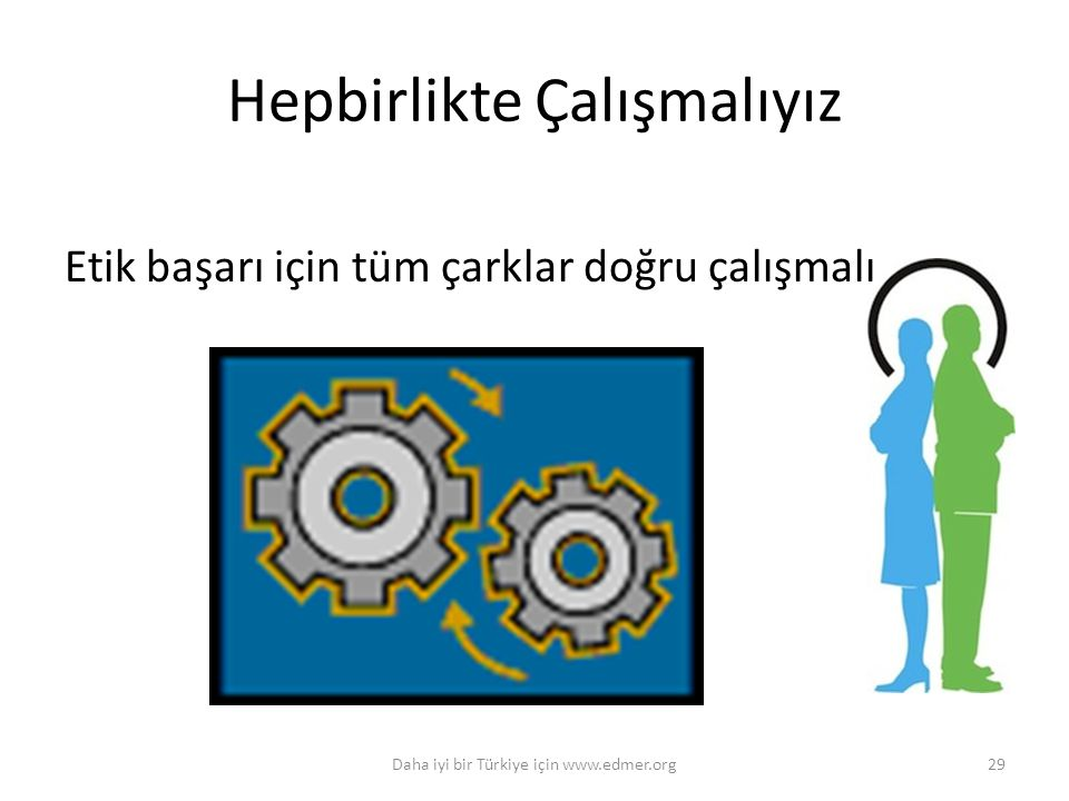 Daha iyi bir Türkiye için www.edmer.org29 Hepbirlikte Çalışmalıyız Etik başarı için tüm çarklar doğru çalışmalı