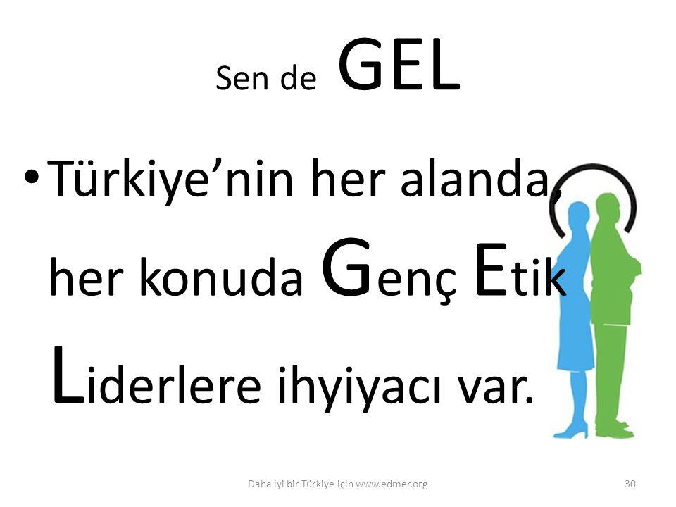 Sen de GEL Türkiye'nin her alanda, her konuda G enç E tik L iderlere ihyiyacı var. Daha iyi bir Türkiye için www.edmer.org30