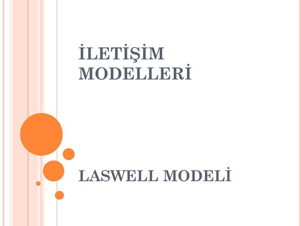 Lasswell Modelinin temel soruları şunlardır: Kim, Neyi, Hangi Kanaldan, Kime, Hangi Etkiyle… Bu modele göre iletişim doğrusal bir çizgidedir.