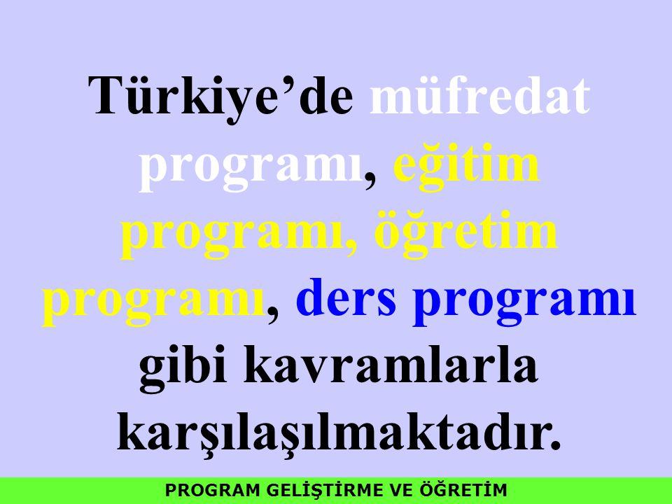 Türkiye'de müfredat programı, eğitim programı, öğretim programı, ders programı gibi kavramlarla karşılaşılmaktadır. PROGRAM GELİŞTİRME VE ÖĞRETİM