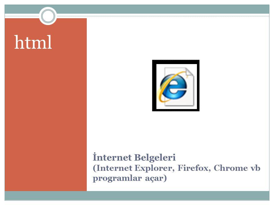 İnternet Belgeleri (Internet Explorer, Firefox, Chrome vb programlar açar) html