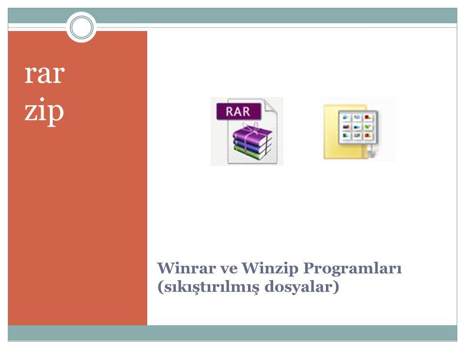 Winrar ve Winzip Programları (sıkıştırılmış dosyalar) rar zip