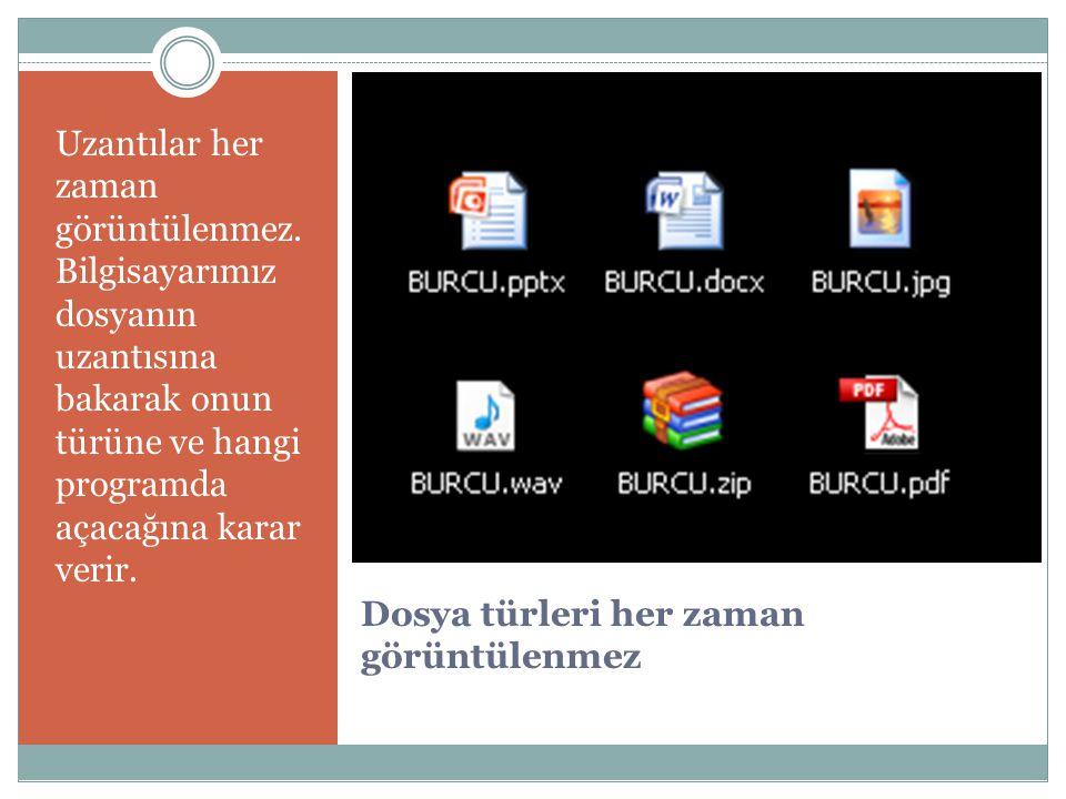 DocxW ord - Metin Avi Media Player – Video Pptx Powerpoint– Sunu Mp3 Media Player - Müzik Gif Paint, Photoshop – Hareketli resim Rar/zip Winrar, Winzip – Sıkıştırılmış dosyalar Docx Word – yazı Mpeg Media Player – video Pptx Powerpoint – Sunu Divx Media Player, PowerDVD - Video Bmp Paint, Photoshop – Resim Pdf Adobe Acrobat – pdf HtmlI nternet Explorer, Firefox – İnternet Wav Media Player - müzik Jpeg/jpg Paint, Photoshop – resim