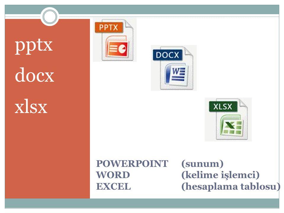 POWERPOINT (sunum) WORD (kelime işlemci) EXCEL (hesaplama tablosu) pptx docx xlsx