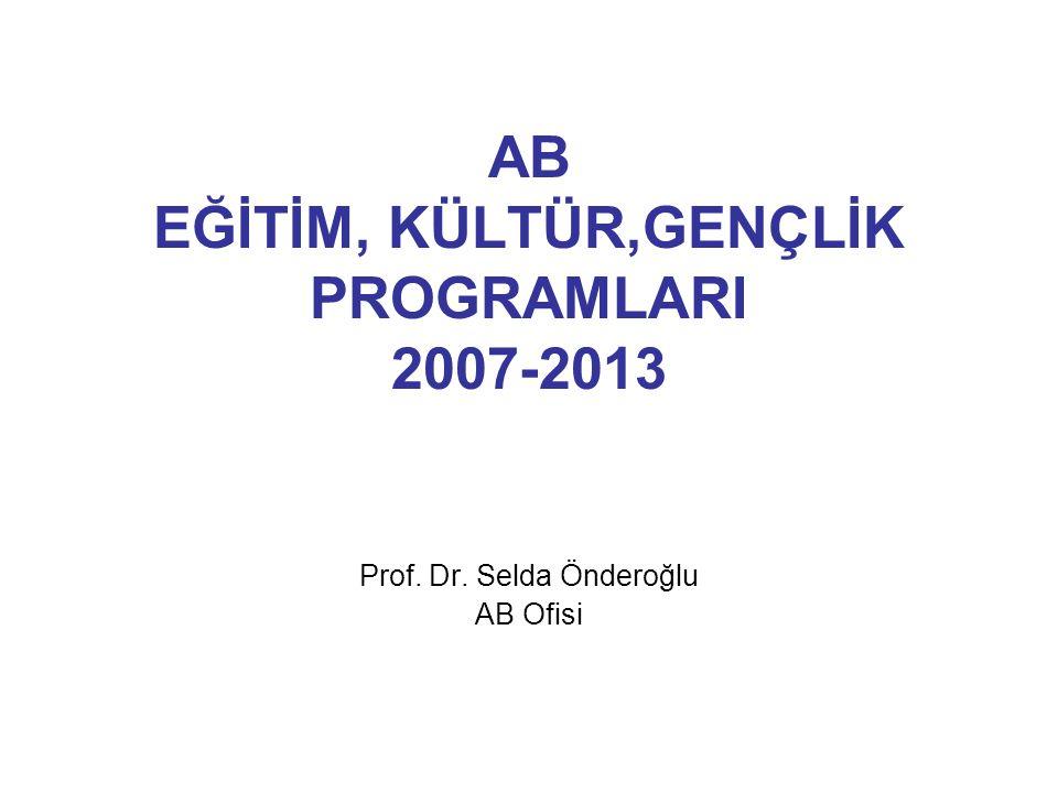 AB EĞİTİM, KÜLTÜR,GENÇLİK PROGRAMLARI 2007-2013 Prof. Dr. Selda Önderoğlu AB Ofisi