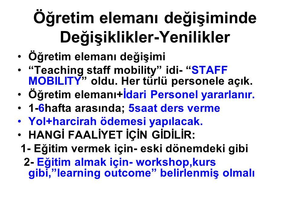 Öğretim elemanı değişiminde Değişiklikler-Yenilikler Öğretim elemanı değişimi Teaching staff mobility idi- STAFF MOBILITY oldu.