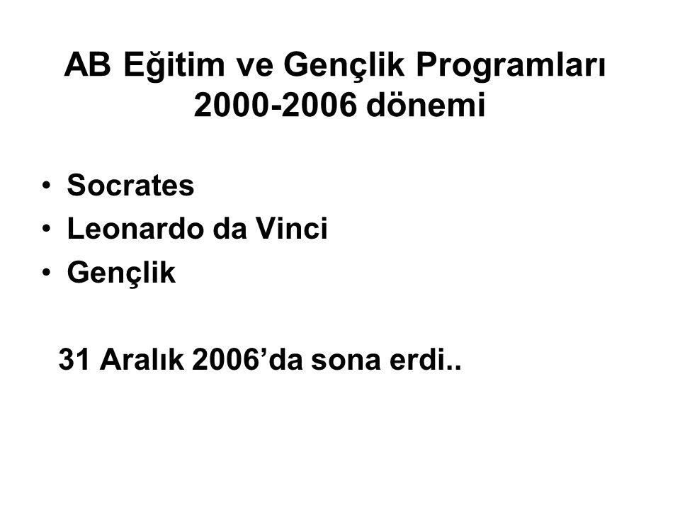 AB Eğitim ve Gençlik Programları 2000-2006 dönemi Socrates Leonardo da Vinci Gençlik 31 Aralık 2006'da sona erdi..