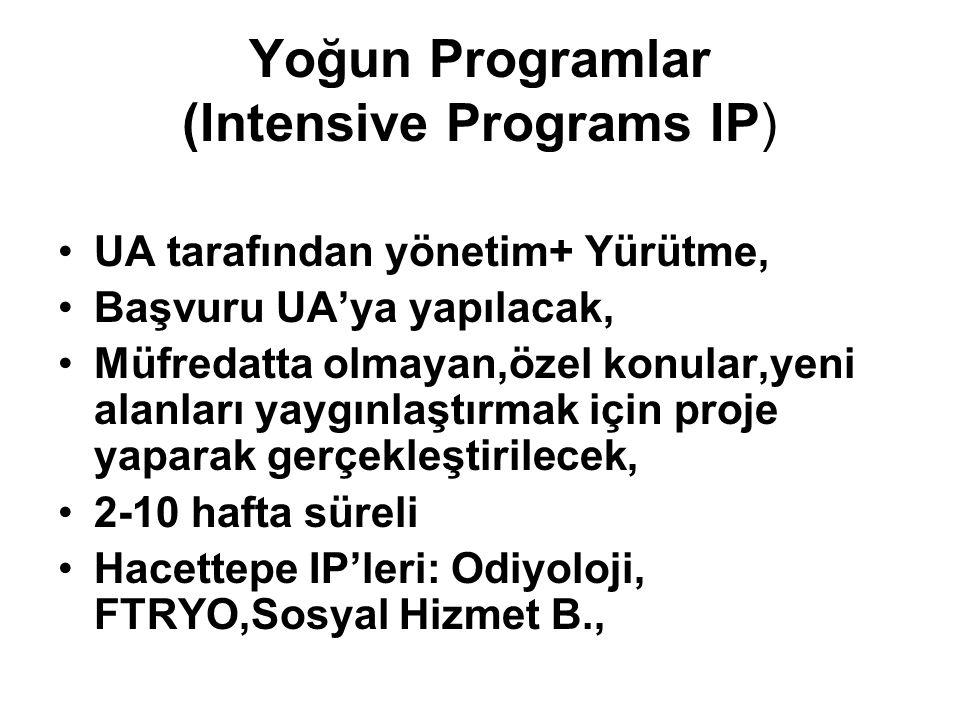 Yoğun Programlar (Intensive Programs IP) UA tarafından yönetim+ Yürütme, Başvuru UA'ya yapılacak, Müfredatta olmayan,özel konular,yeni alanları yaygınlaştırmak için proje yaparak gerçekleştirilecek, 2-10 hafta süreli Hacettepe IP'leri: Odiyoloji, FTRYO,Sosyal Hizmet B.,