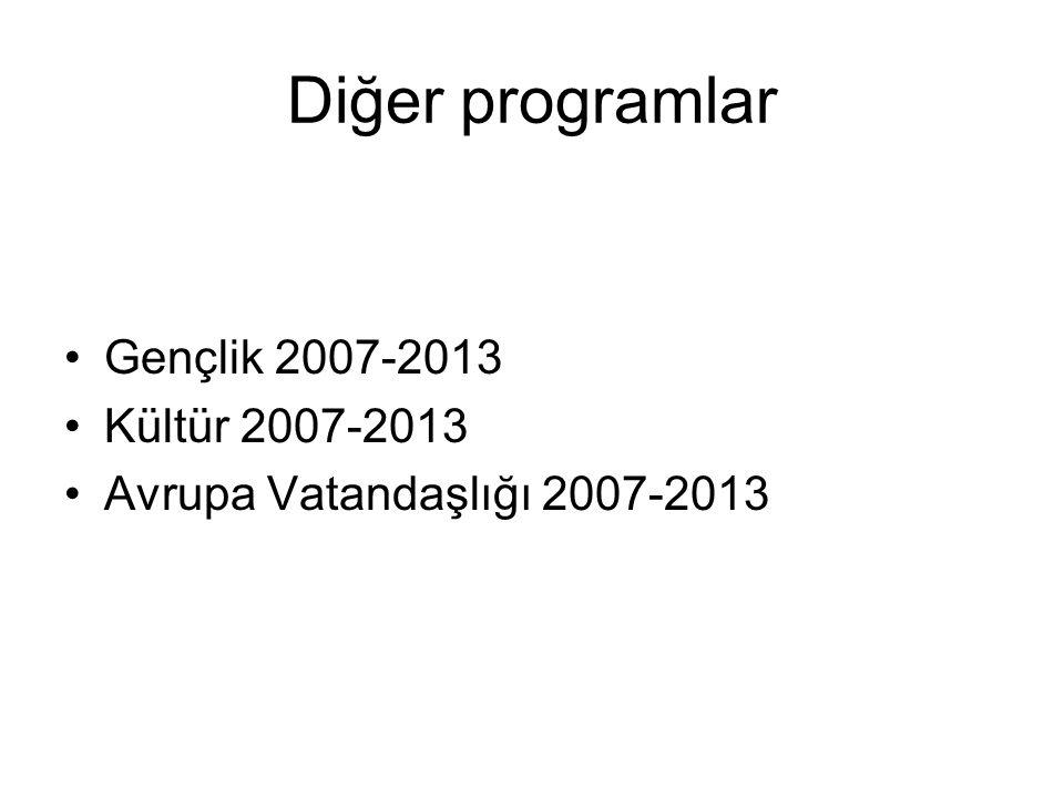 Diğer programlar Gençlik 2007-2013 Kültür 2007-2013 Avrupa Vatandaşlığı 2007-2013