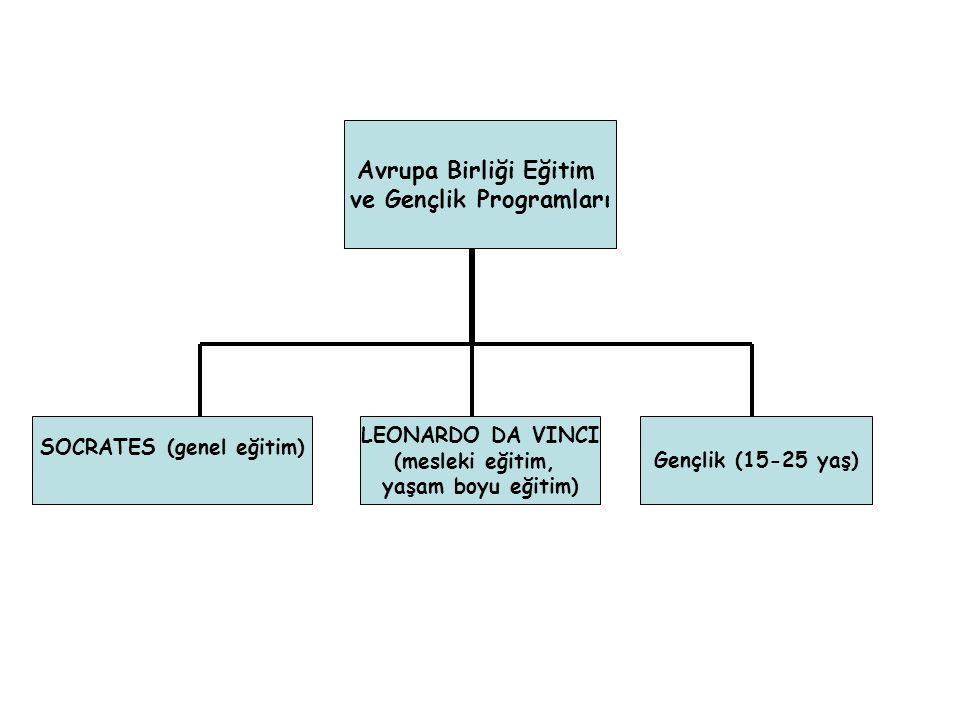 Gençlik (15-25 yaş) Avrupa Birliği Eğitim ve Gençlik Programları LEONARDO DA VINCI (mesleki eğitim, yaşam boyu eğitim) SOCRATES (genel eğitim)
