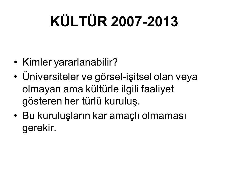 KÜLTÜR 2007-2013 Kimler yararlanabilir.