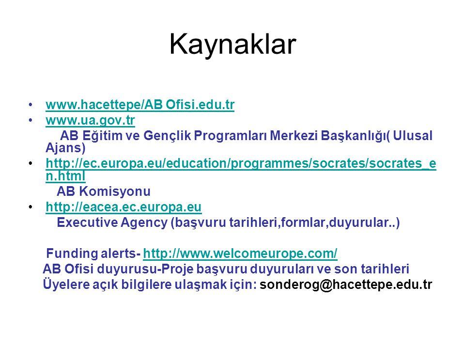 Kaynaklar www.hacettepe/AB Ofisi.edu.tr www.ua.gov.tr AB Eğitim ve Gençlik Programları Merkezi Başkanlığı( Ulusal Ajans) http://ec.europa.eu/education/programmes/socrates/socrates_e n.htmlhttp://ec.europa.eu/education/programmes/socrates/socrates_e n.html AB Komisyonu http://eacea.ec.europa.eu Executive Agency (başvuru tarihleri,formlar,duyurular..) Funding alerts- http://www.welcomeurope.com/http://www.welcomeurope.com/ AB Ofisi duyurusu-Proje başvuru duyuruları ve son tarihleri Üyelere açık bilgilere ulaşmak için: sonderog@hacettepe.edu.tr