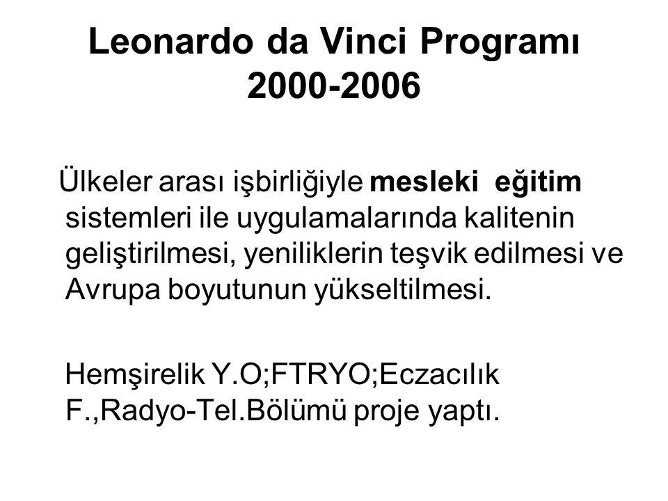 Leonardo da Vinci Programı 2000-2006 Ülkeler arası işbirliğiyle mesleki eğitim sistemleri ile uygulamalarında kalitenin geliştirilmesi, yeniliklerin teşvik edilmesi ve Avrupa boyutunun yükseltilmesi.
