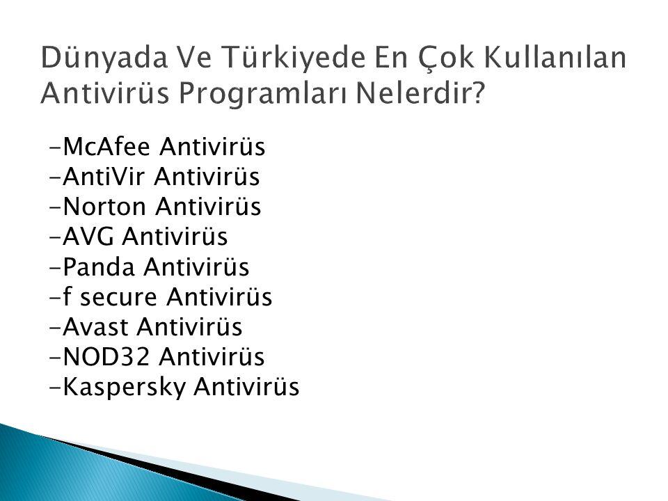 -McAfee Antivirüs -AntiVir Antivirüs -Norton Antivirüs -AVG Antivirüs -Panda Antivirüs -f secure Antivirüs -Avast Antivirüs -NOD32 Antivirüs -Kaspersk