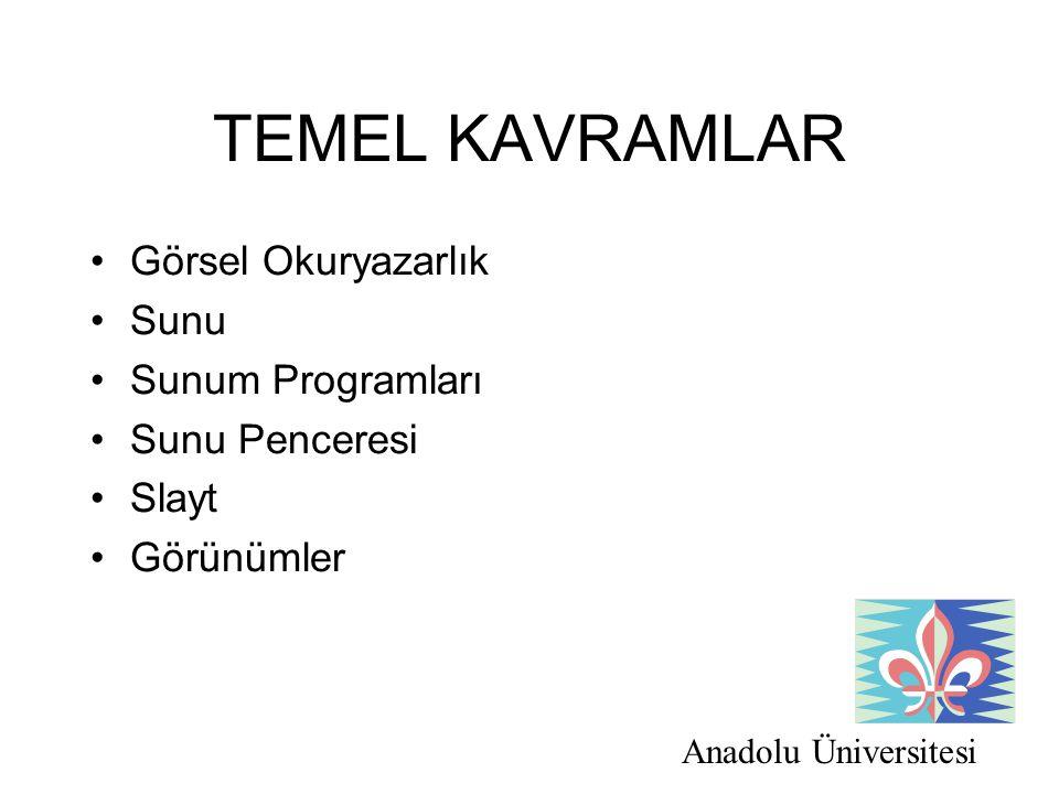 Anadolu Üniversitesi TEMEL KAVRAMLAR Görsel Okuryazarlık Sunu Sunum Programları Sunu Penceresi Slayt Görünümler
