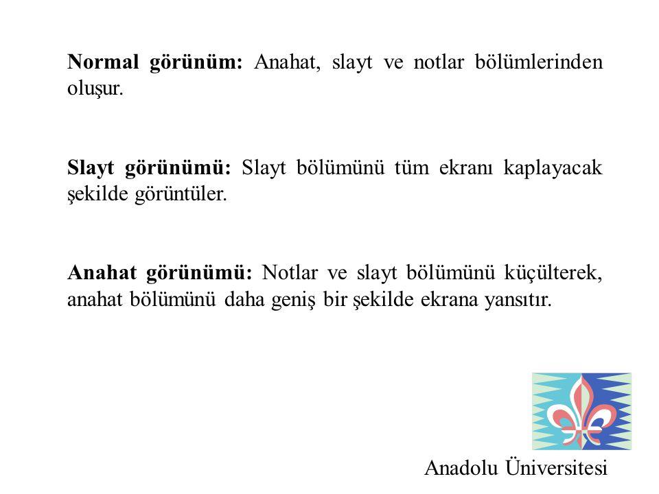Anadolu Üniversitesi Normal görünüm: Anahat, slayt ve notlar bölümlerinden oluşur. Slayt görünümü: Slayt bölümünü tüm ekranı kaplayacak şekilde görünt