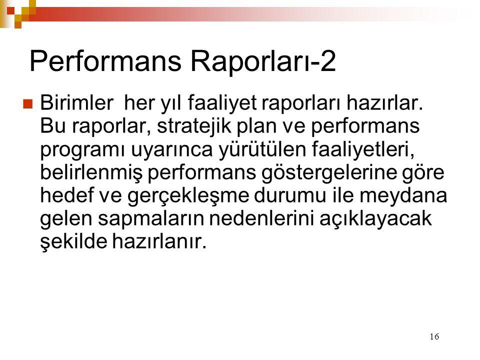 16 Performans Raporları-2 Birimler her yıl faaliyet raporları hazırlar.