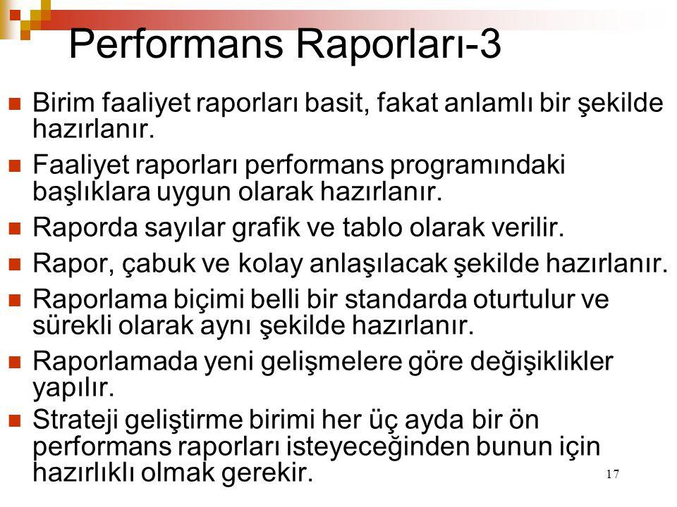 17 Performans Raporları-3 Birim faaliyet raporları basit, fakat anlamlı bir şekilde hazırlanır.