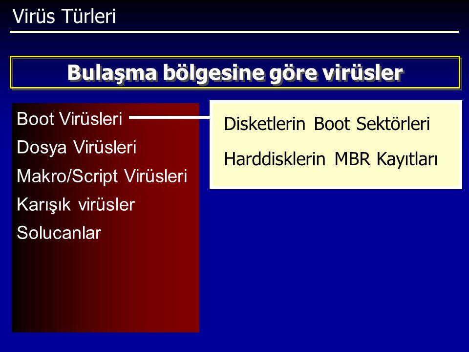 Virüs Türleri Boot Virüsleri Dosya Virüsleri Makro/Script Virüsleri Karışık virüsler Solucanlar Bulaşma bölgesine göre virüsler Disketlerin Boot Sektö