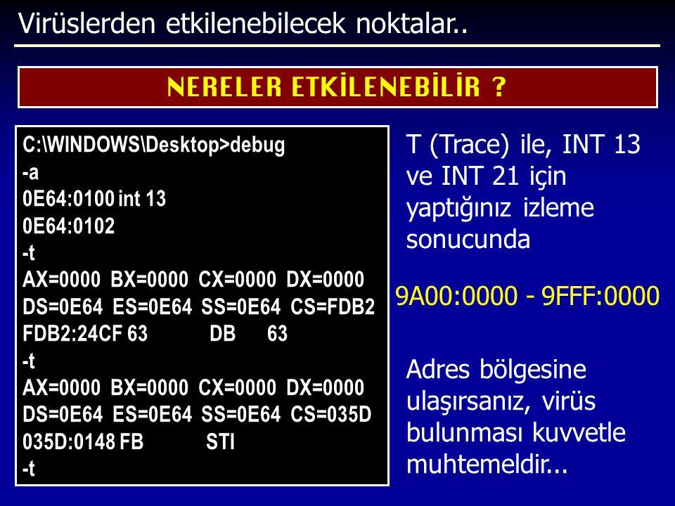 Virüslerden etkilenebilecek noktalar.. NERELER ETKİLENEBİLİR ? C:\WINDOWS\Desktop>debug -a 0E64:0100 int 13 0E64:0102 -t AX=0000 BX=0000 CX=0000 DX=00