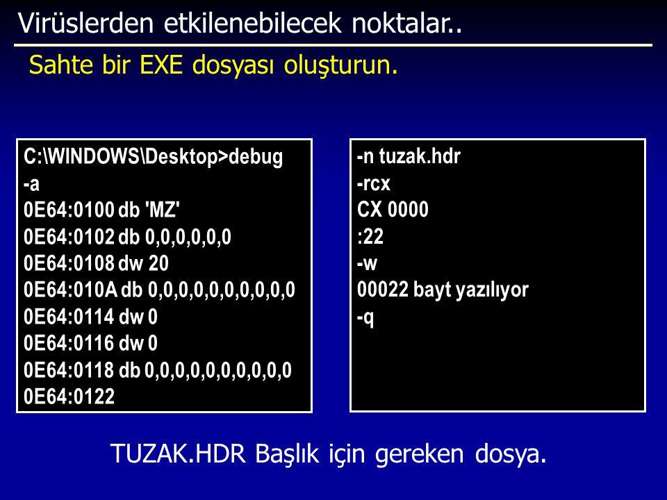 Virüslerden etkilenebilecek noktalar.. Sahte bir EXE dosyası oluşturun. -n tuzak.hdr -rcx CX 0000 :22 -w 00022 bayt yazılıyor -q C:\WINDOWS\Desktop>de