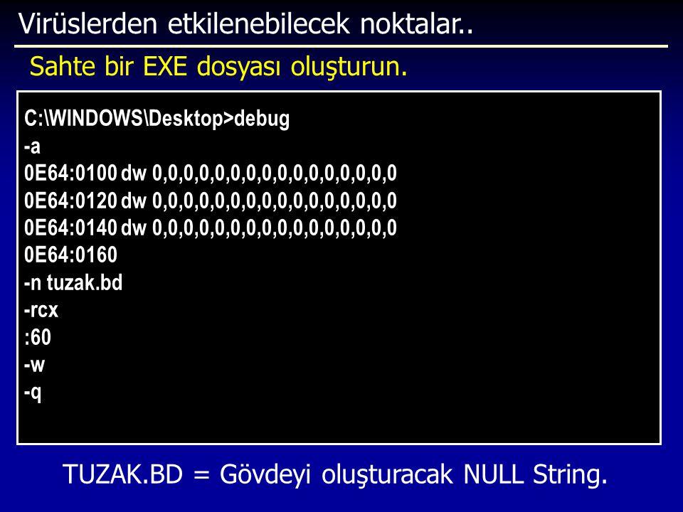 Virüslerden etkilenebilecek noktalar.. C:\WINDOWS\Desktop>debug -a 0E64:0100 dw 0,0,0,0,0,0,0,0,0,0,0,0,0,0,0,0 0E64:0120 dw 0,0,0,0,0,0,0,0,0,0,0,0,0