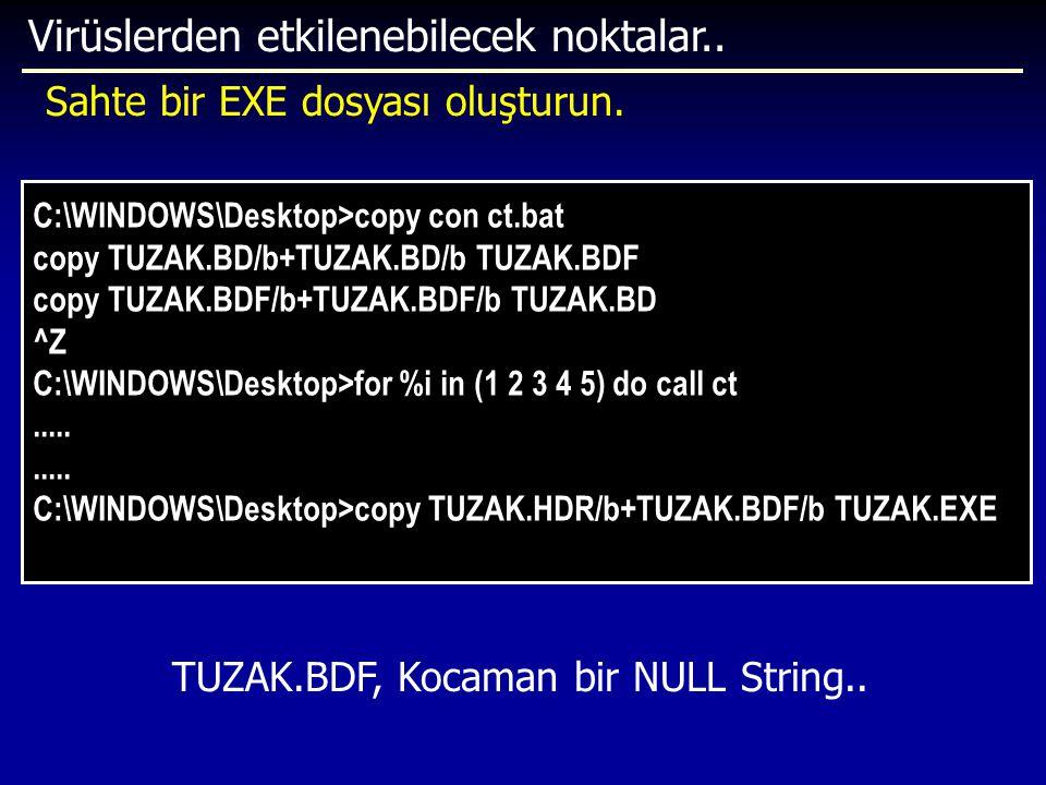 Virüslerden etkilenebilecek noktalar.. C:\WINDOWS\Desktop>copy con ct.bat copy TUZAK.BD/b+TUZAK.BD/b TUZAK.BDF copy TUZAK.BDF/b+TUZAK.BDF/b TUZAK.BD ^