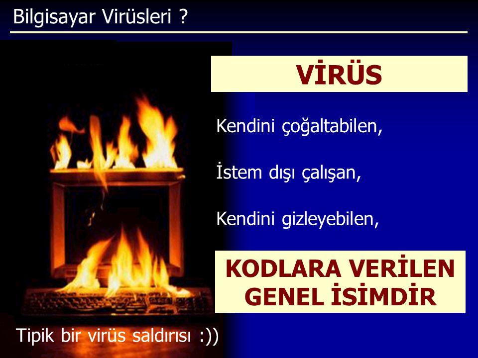 Bilgisayar Virüsleri ? Tipik bir virüs saldırısı :)) VİRÜS İstem dışı çalışan, Kendini çoğaltabilen, Kendini gizleyebilen, KODLARA VERİLEN GENEL İSİMD