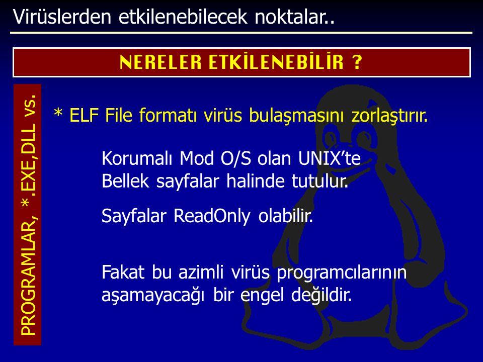 Virüslerden etkilenebilecek noktalar.. NERELER ETKİLENEBİLİR ? PROGRAMLAR, *.EXE,DLL vs. * ELF File formatı virüs bulaşmasını zorlaştırır. Korumalı Mo