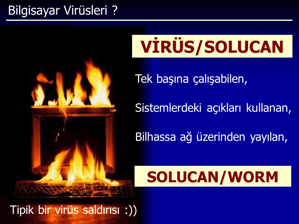 Bilgisayar Virüsleri ? Tipik bir virüs saldırısı :)) VİRÜS/SOLUCAN Sistemlerdeki açıkları kullanan, Tek başına çalışabilen, Bilhassa ağ üzerinden yayı