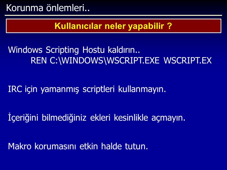 Korunma önlemleri.. Kullanıcılar neler yapabilir ? Windows Scripting Hostu kaldırın.. REN C:\WINDOWS\WSCRIPT.EXE WSCRIPT.EX IRC için yamanmış scriptle