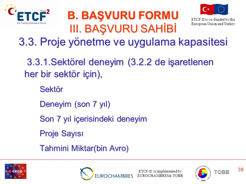 ETCF-II is implemented by EUROCHAMBRES& TOBB TOBB ETCF-II is co-funded by the European Union and Turkey 38 B. BAŞVURU FORMU III. BAŞVURU SAHİBİ 3.3. P