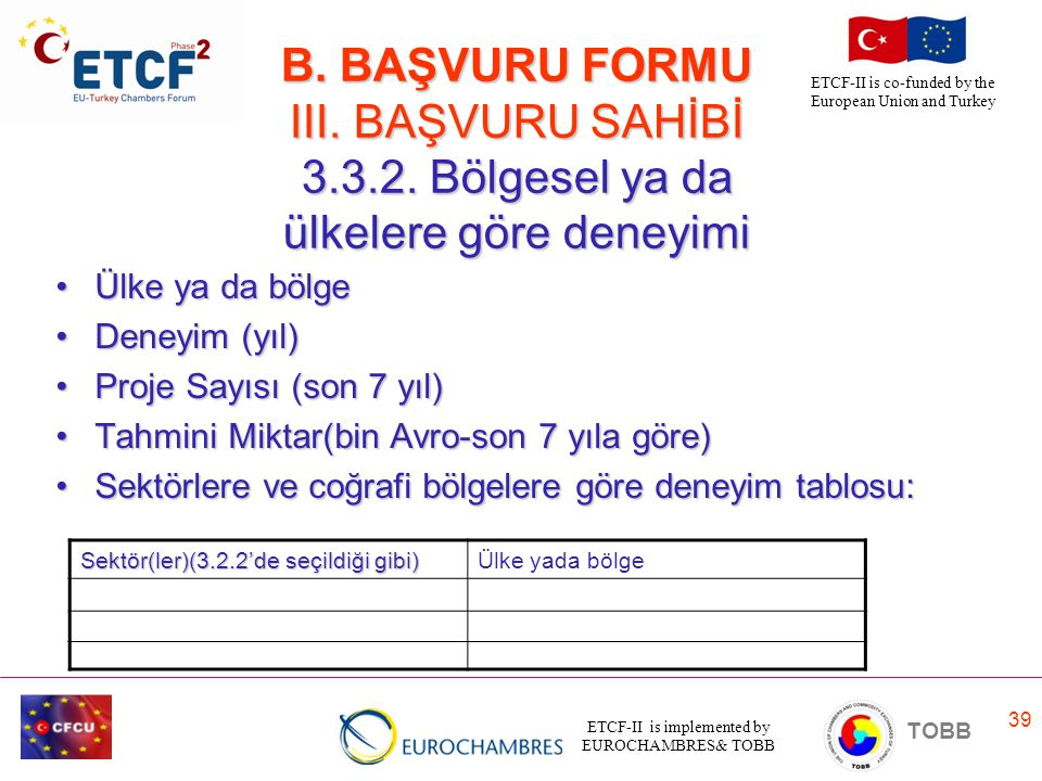 ETCF-II is implemented by EUROCHAMBRES& TOBB TOBB ETCF-II is co-funded by the European Union and Turkey 39 B. BAŞVURU FORMU III. BAŞVURU SAHİBİ 3.3.2.
