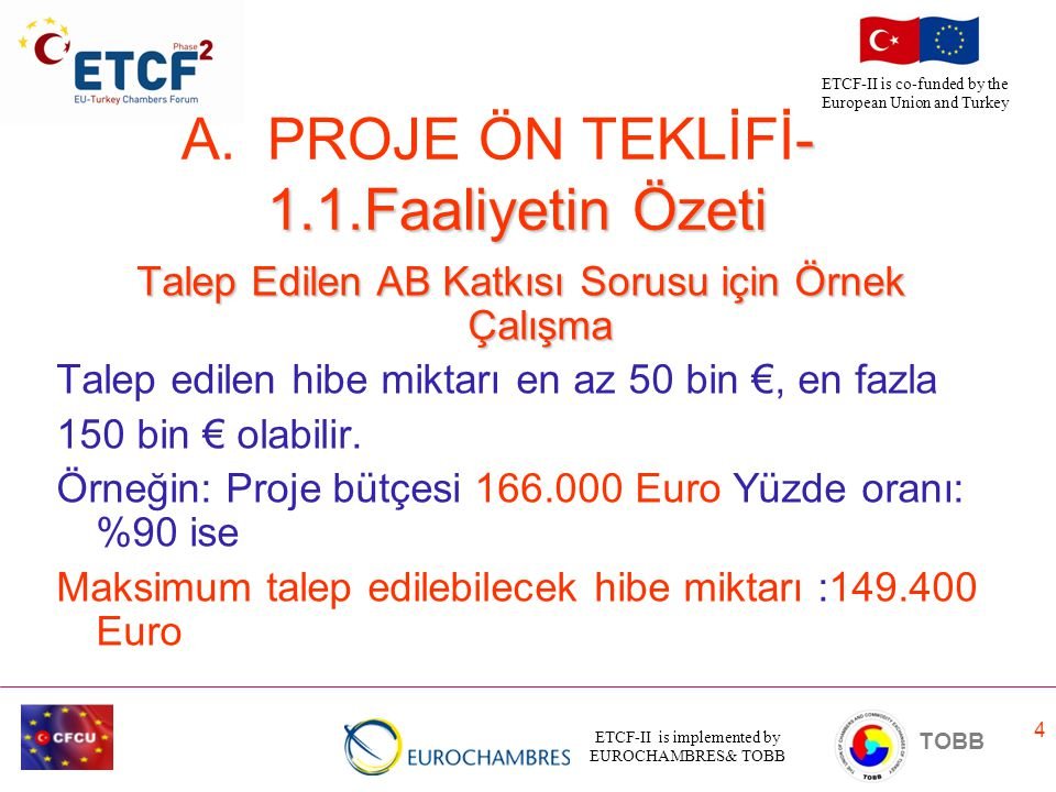 ETCF-II is implemented by EUROCHAMBRES& TOBB TOBB ETCF-II is co-funded by the European Union and Turkey 4 Talep Edilen AB Katkısı Sorusu için Örnek Ça